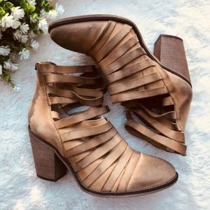 Free People Boots Hybrid Tan Leather Heel Ankle 39